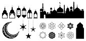 Islamic ornaments, symbols and icons. Vector illustration with moon, lanterns, patterns and city silhouette