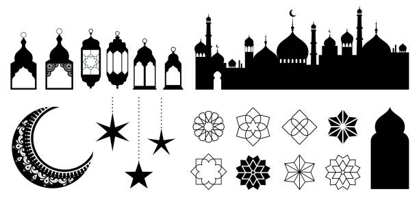 Islamic ornaments, symbols and icons. Vector illustration with moon, lanterns, patterns and city silhouette Islamic ornaments, symbols and icons collection. Vector illustration with moon, lanterns, patterns and city silhouette ramadan stock illustrations