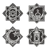 Islamic ornate emblem set