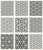 Set of nine seamless islamic wallpaper patterns. Vector.