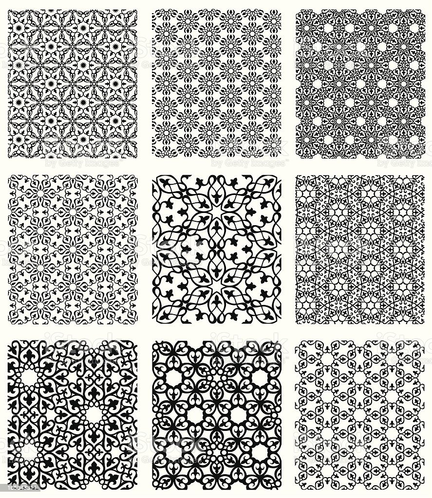 Islamic Patterns Set vector art illustration