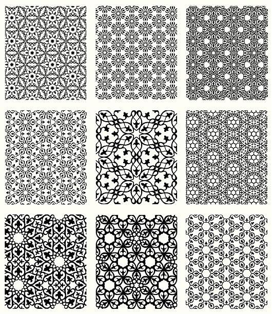 Islamic Patterns Set vector art illustration