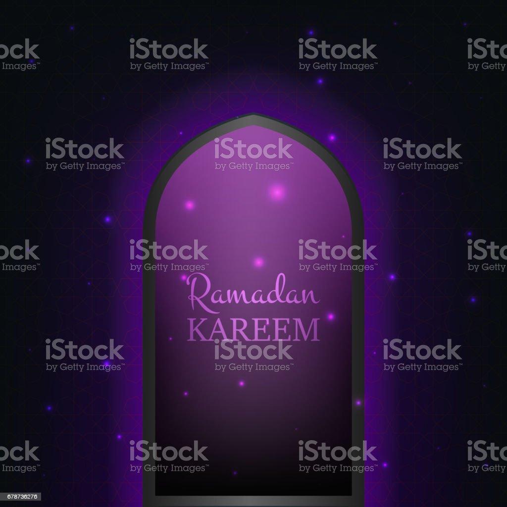 Islamique Ramadan Kareem fond. Porte rougeoyante avec particules brillantes et modèle de vol islamique ramadan kareem fond porte rougeoyante avec particules brillantes et modèle de vol – cliparts vectoriels et plus d'images de abstrait libre de droits