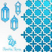 Vector illustration of Islamic ramadan kareem greeting card template with lantern