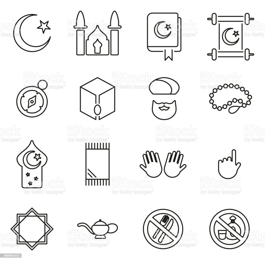 Islamic Religion & Culture Icons Thin Line Vector Illustration Set vector art illustration