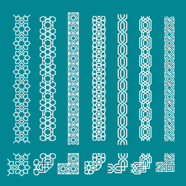 islamic seamless border ornament set for decoration - arab stock illustrations