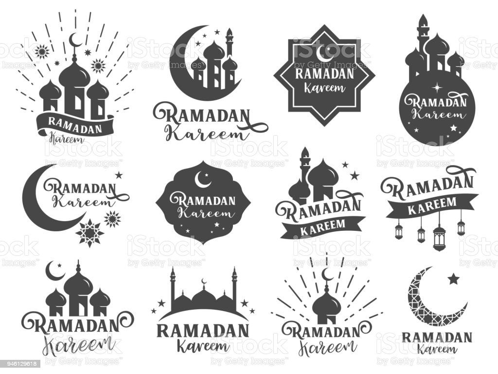 Islamic sticker badge. Included the badges as Ramadan kareem collection, mosque icon, Moon, Star, Muslim celebrate, religion related and more vector art illustration