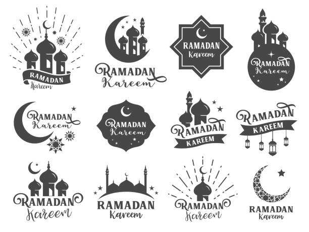 islamic sticker badge. included the badges as ramadan kareem collection, mosque icon, moon, star, muslim celebrate, religion related and more - ramadan stock illustrations, clip art, cartoons, & icons