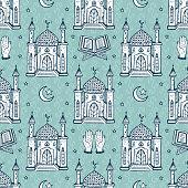 Islamic Symbol background. Arabic Seamless Pattern. Crescent Moon with Star, Mosque, Koran, Hands. Ramadan Kareem