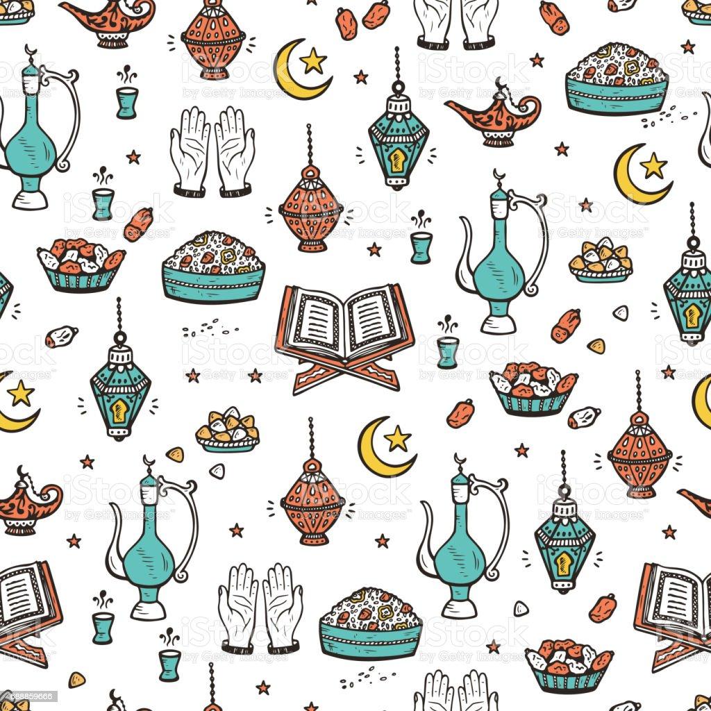 Islamic Symbols Background Arabic Seamless Pattern Iftar Party