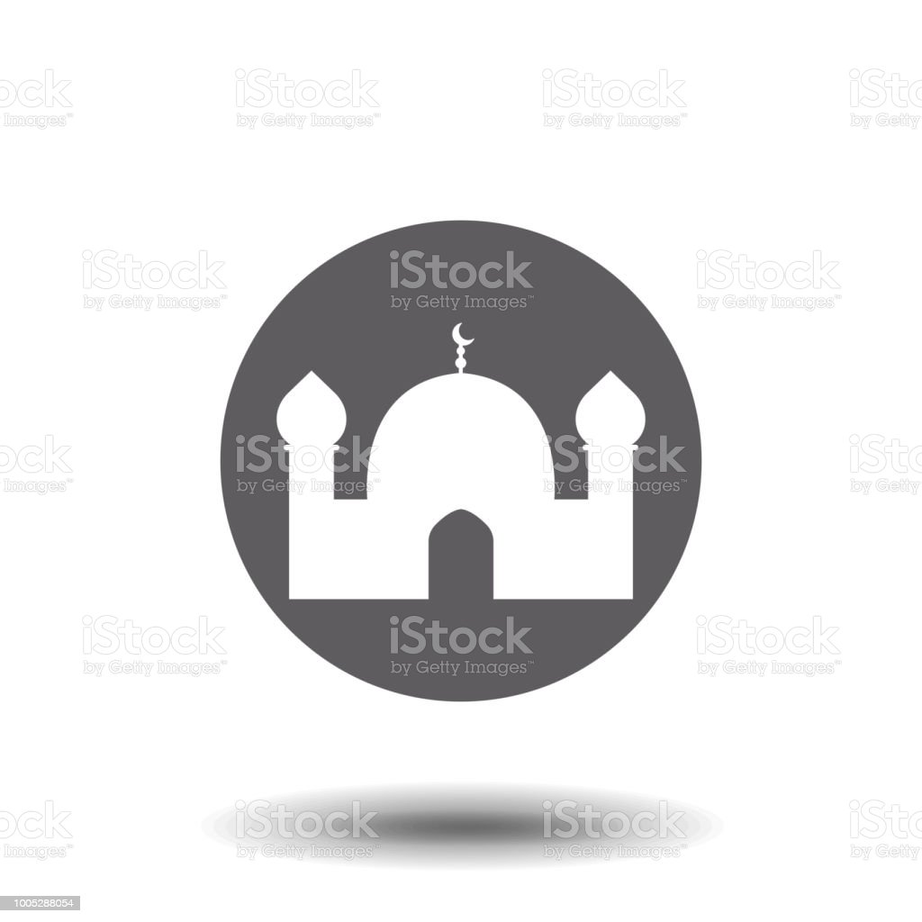 Islamic template, stencil, pattern, white mosque, icon, isolated on white background. Vector.