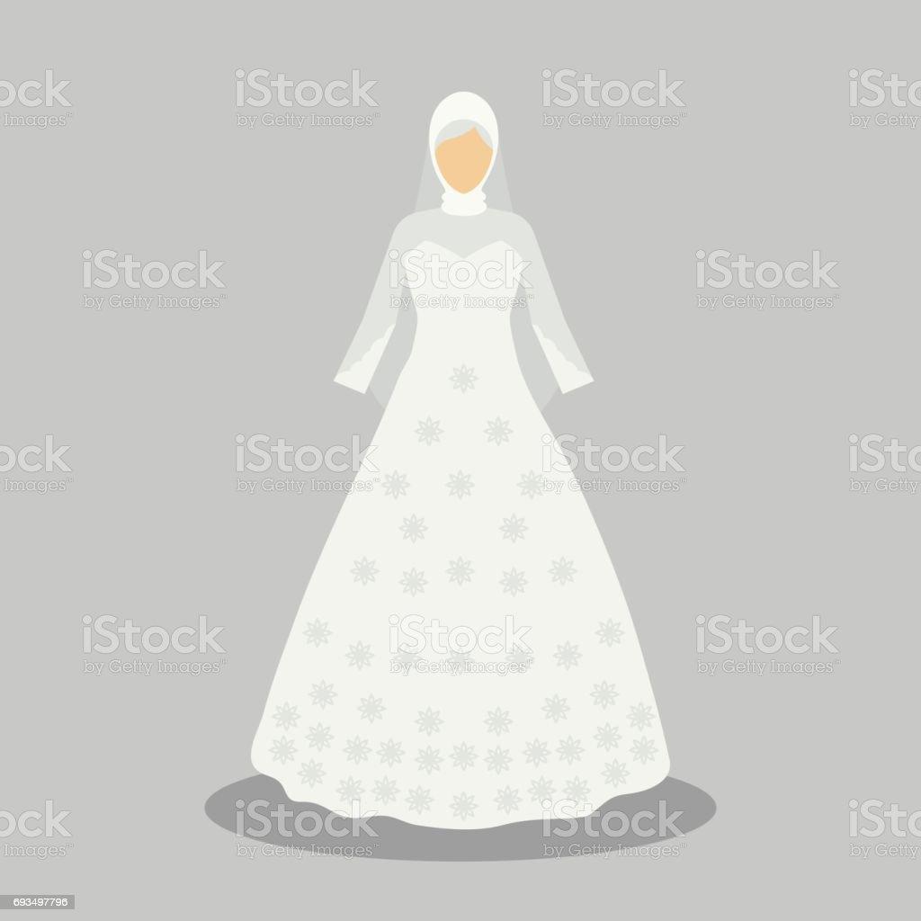 Islamische Brautkleid Für Die Muslimische Braut In Modernem Stil  Vektorillustration Stock Vektor Art und mehr Bilder von Abendkleid