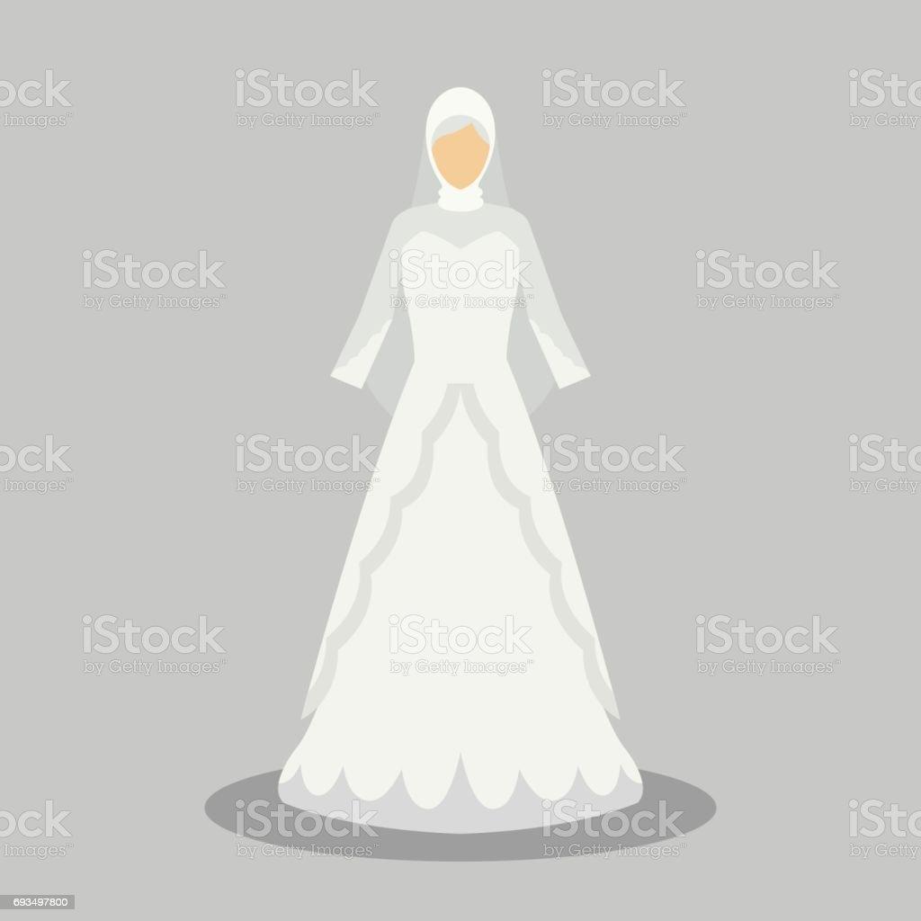 Robe De Mariage Islamique Pour La Mariee Musulmane Dans Des Styles Modernes Illustration Vectorielle Vecteurs Libres De Droits Et Plus D Images
