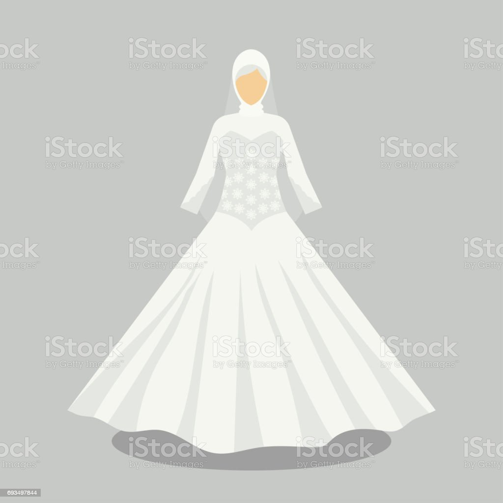 af7d1a0165 islamic wedding dress for the muslim bride in modern styles. vector  illustration royalty-free