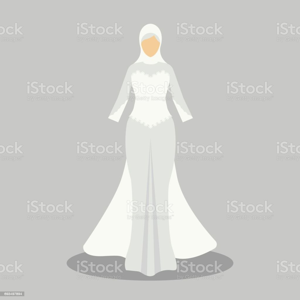 6da3673746 Islamic wedding dress for the muslim bride in modern styles. vector  illustration - Illustration .