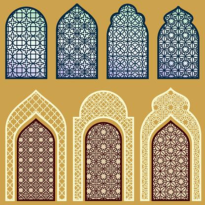 Islamic windows and doors with arabian art ornament pattern vector set