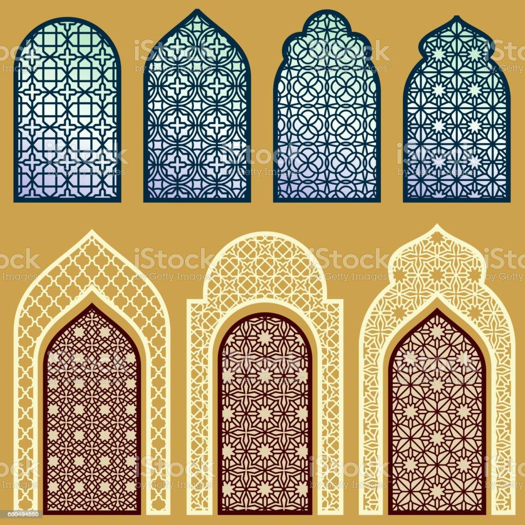 Portes avec motif d'ornement art arabe et islamiques fenêtres vector ensemble - Illustration vectorielle