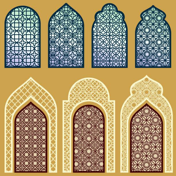 Islamic windows and doors with arabian art ornament pattern vector set vector art illustration