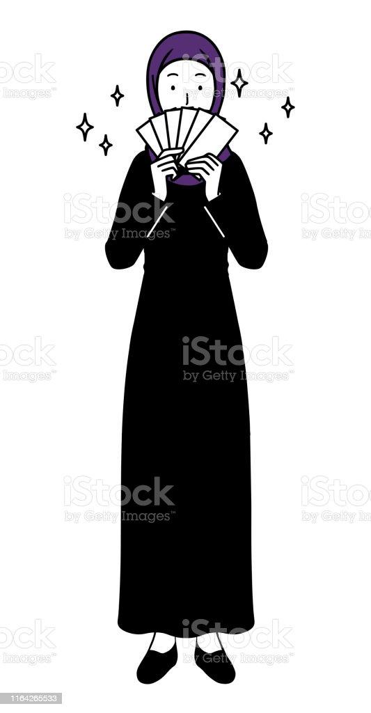 お金を稼ぐイスラム女性全身イラスト イスラム国のベクターアート素材や画像を多数ご用意 Istock