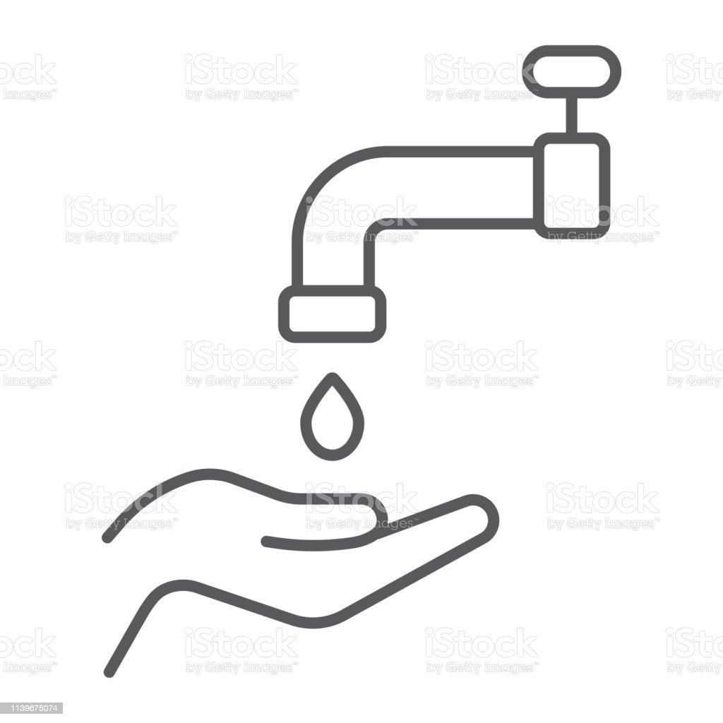 Islamic Wudu Thin Line Icon Arabic And Prayer Hand Wash Sign Vector