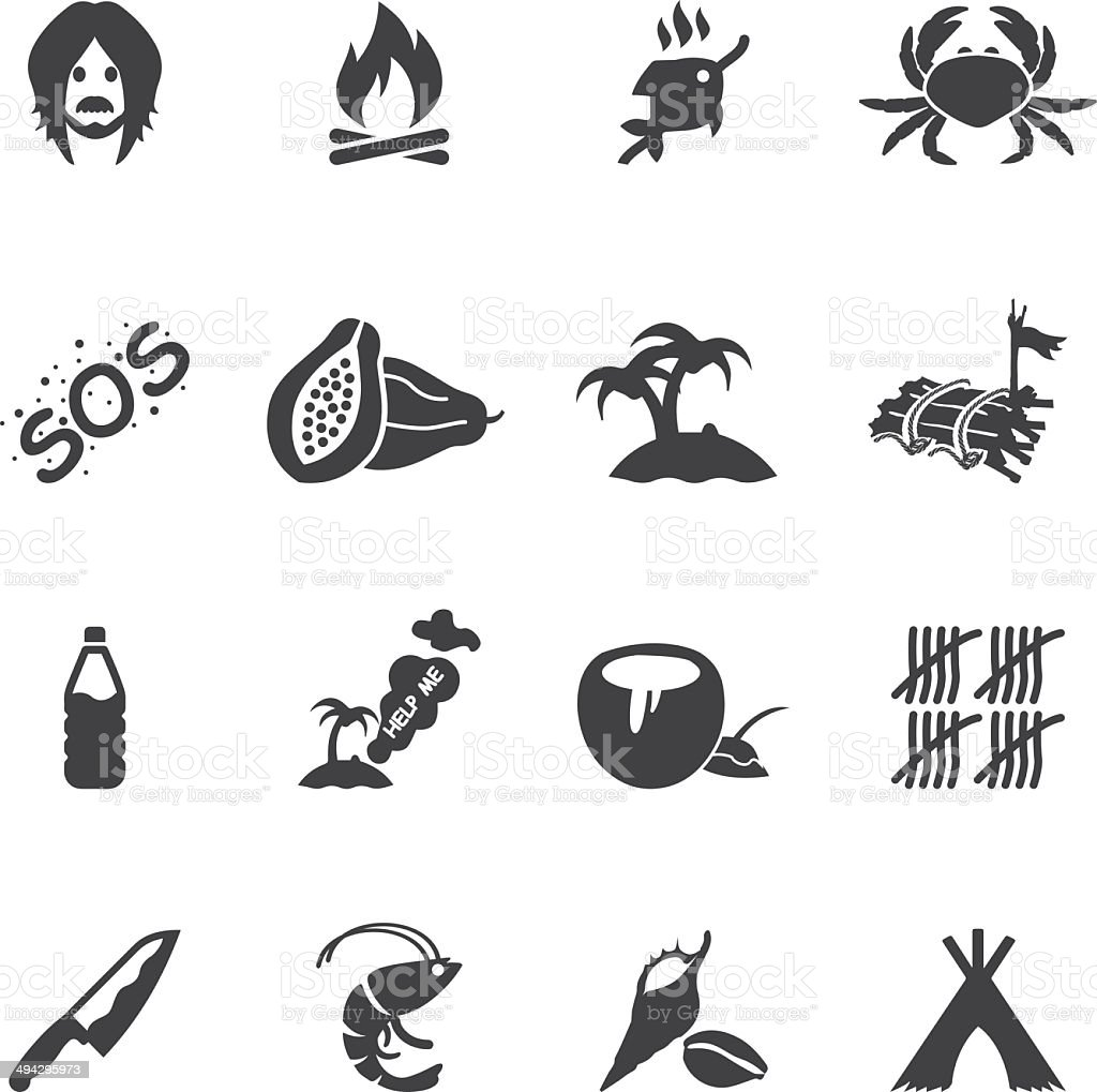 Island Alive Silhouette icons  EPS10 vector art illustration