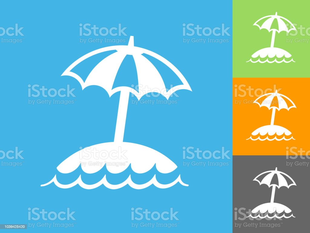 青色の背景の島とビーチ傘フラッ...