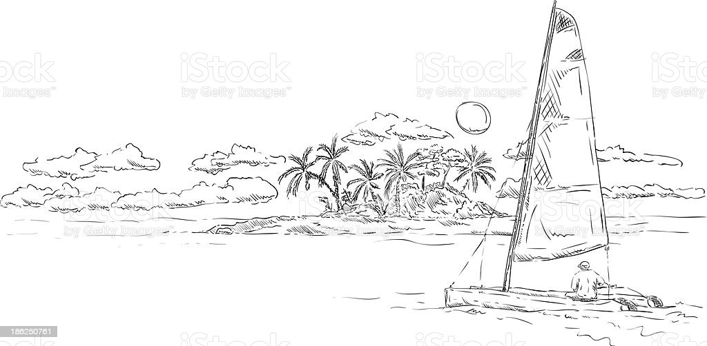 island and catamaran royalty-free stock vector art