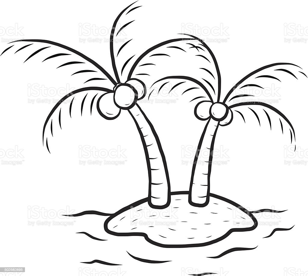 Island And Coconut Tree Stock Illustration - Download ...