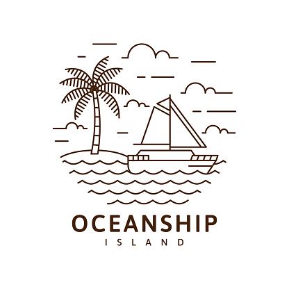 Island and sailing boat illustration monoline or line art style