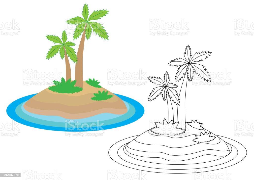 Ilustración de Dibujos Animados De La Isla Libro De Colorear ...