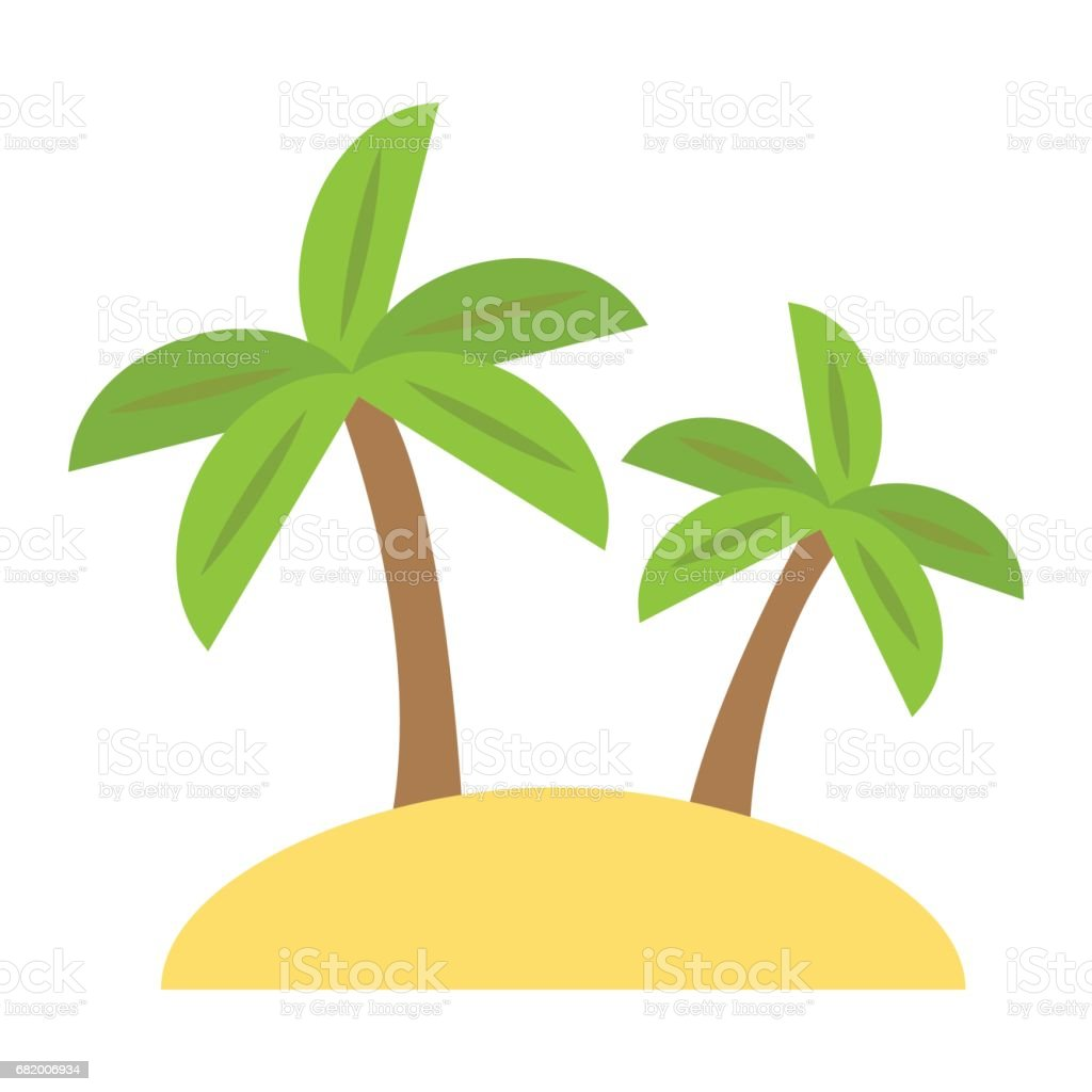 Island Flat Icon Travel And Tourism Palm Trees Vector Graphics A ...