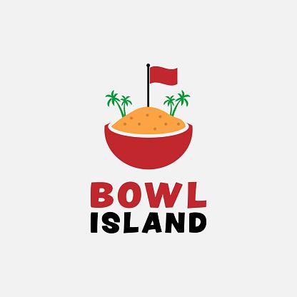 Island Illustration in a Bowl Logo Design Template