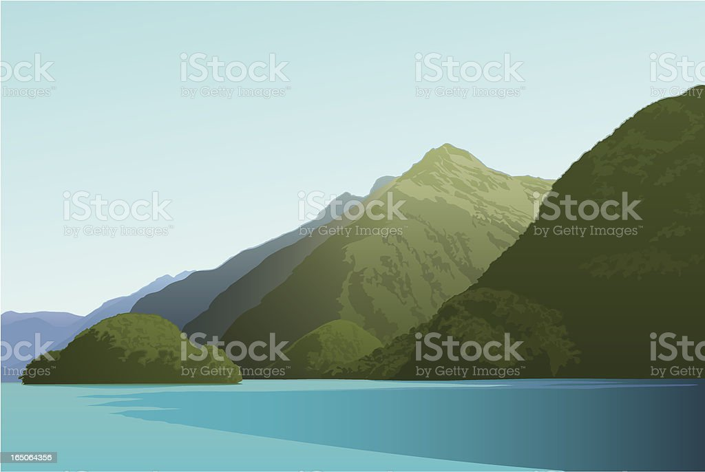 Island in Doubtful Sound royalty-free island in doubtful sound stock vector art & more images of bay of water