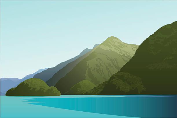 illustrazioni stock, clip art, cartoni animati e icone di tendenza di isola in doubtful sound - fiordi
