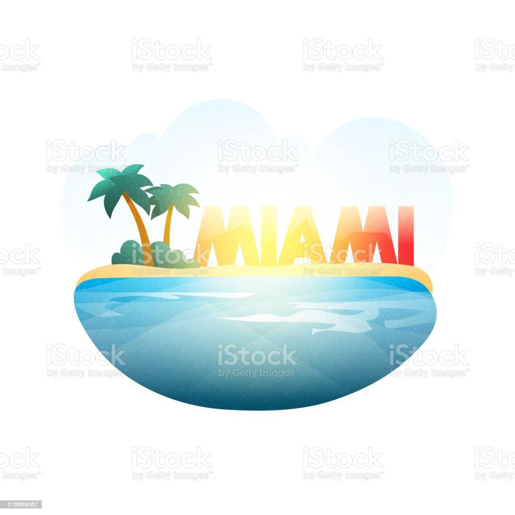 Island in sea. Miami beach with palm trees, ocean vector art illustration