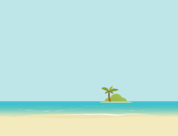 Island in sea or ocean from beach landscape vector illustration Island in the sea or ocean from beach landscape vector illustration, flat cartoon island with palm tree backgrounds clipart stock illustrations