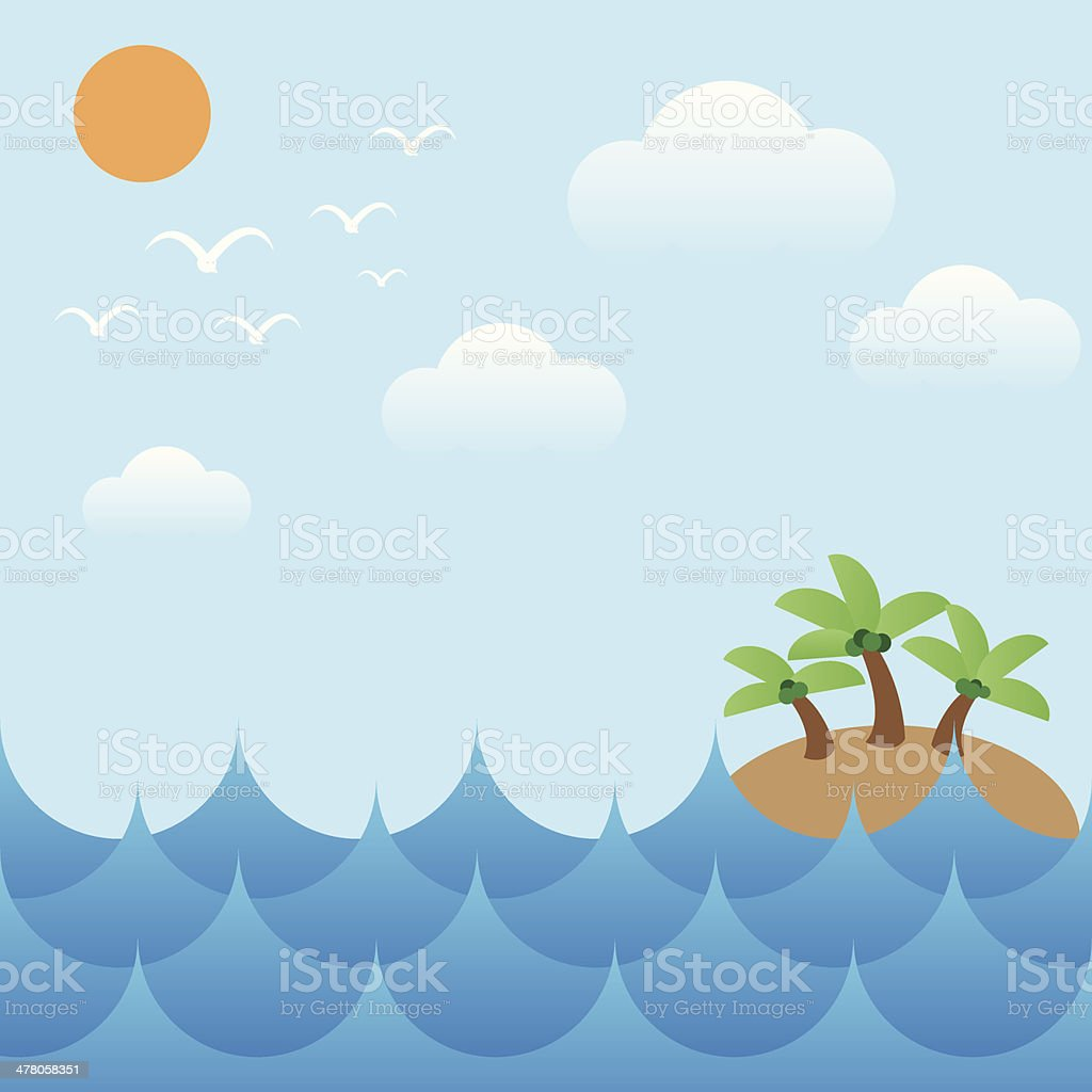 island in sea waves,sun,sky and cloud royalty-free stock vector art