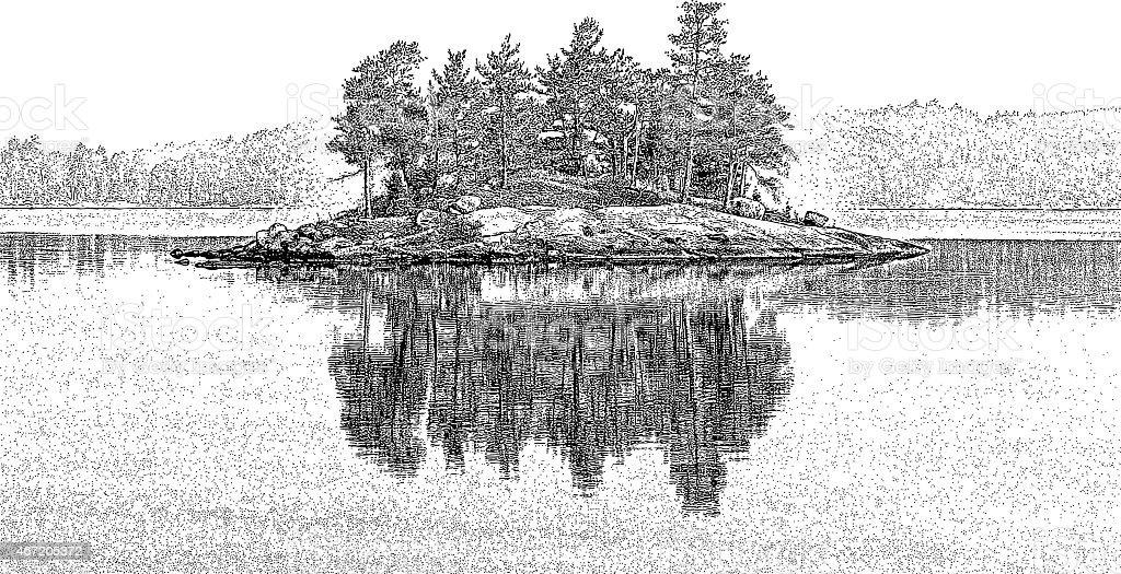 Island. Lac La Croix, Minnesota vector art illustration