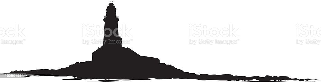 Island lighthouse silhouette on white background vector art illustration