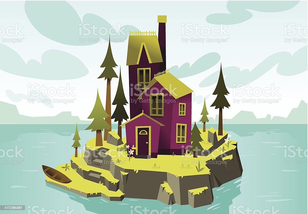 Island Mansion royalty-free stock vector art