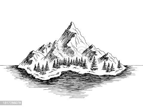 istock Island mountain graphic black white landscape sketch illustration vector 1317286078