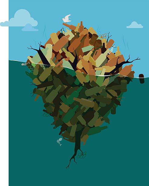 insel der umweltverschmutzung - fischglas stock-grafiken, -clipart, -cartoons und -symbole