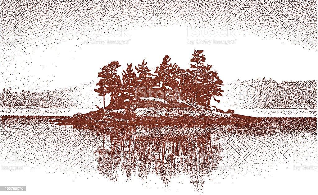 Island On Wilderness Lake vector art illustration