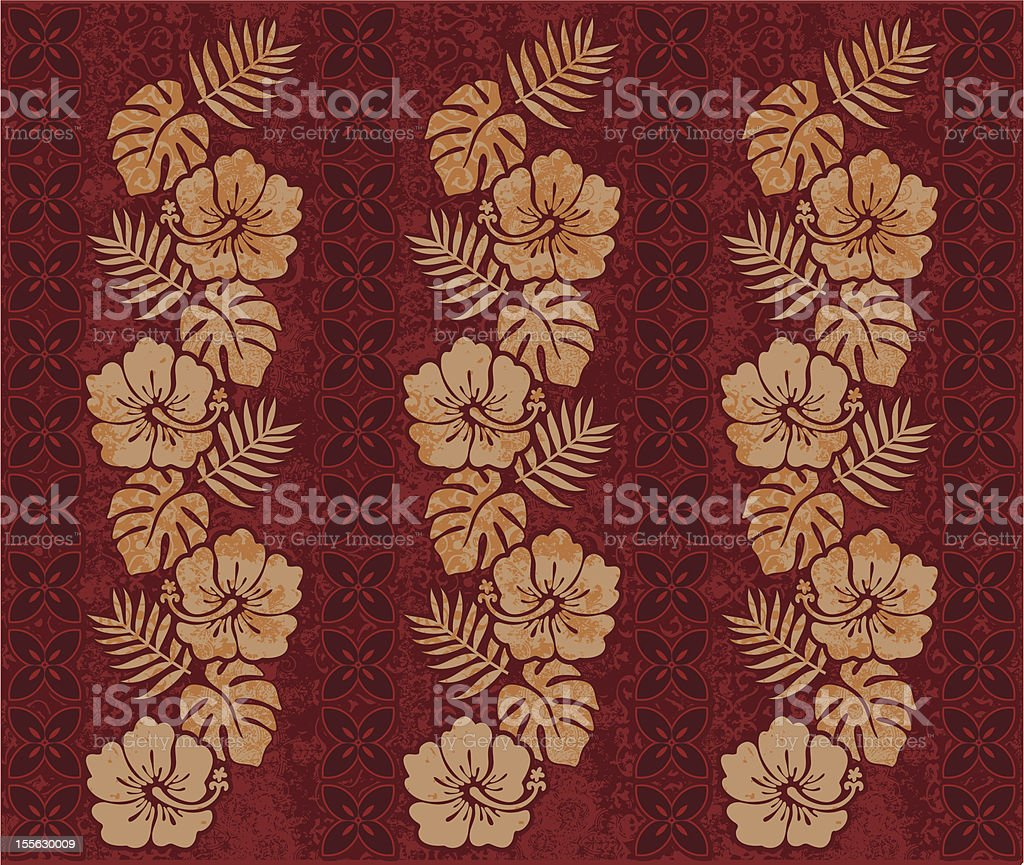 Island Palm and Floral Red Khaki vector art illustration