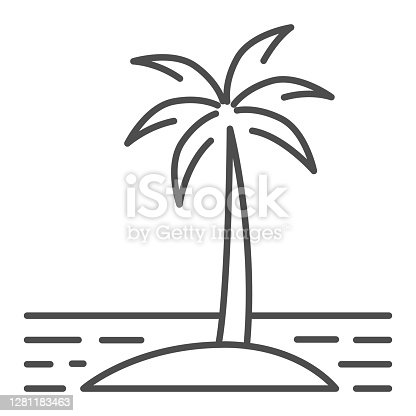 istock Island thin line icon, Sea cruise concept, Palm trees silhouette on beach sign on white background, Tropical Island with palms icon in outline style for mobile and web design. Vector graphics. 1281183463
