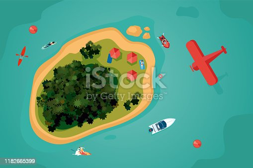 Island top view. Tropical sea resort with people. Summer vacation vector illustration. Bird view of an ocean.