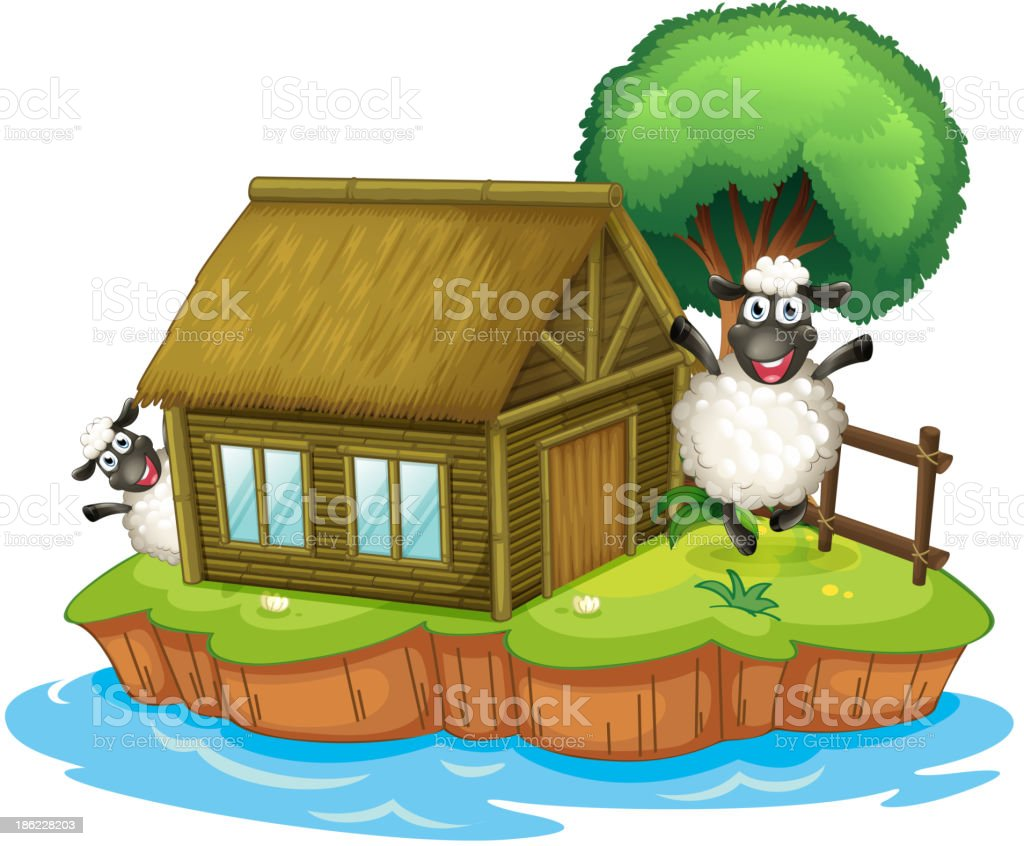 island with a native house and two sheeps royalty-free stock vector art