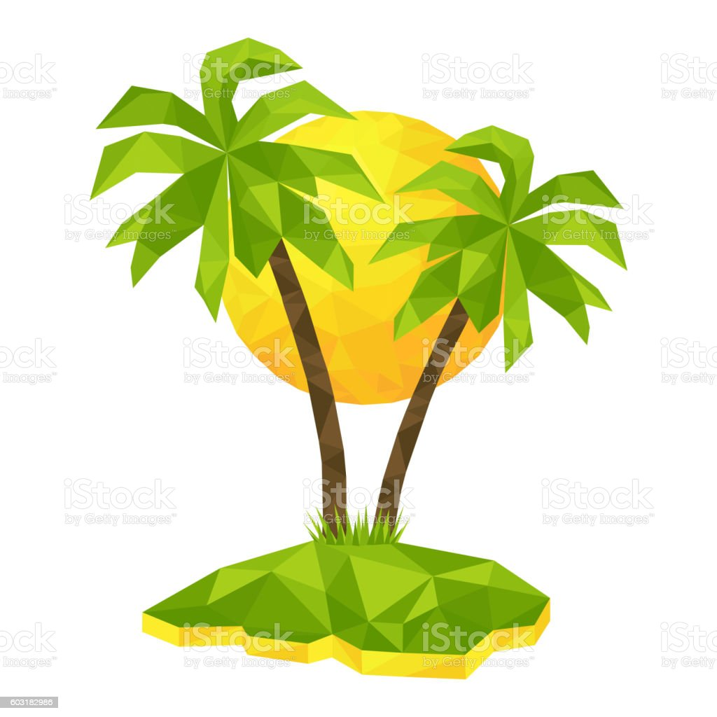 Island with palm trees and sun vector art illustration