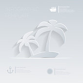 Island with palm trees. Theme holidays. Template infographic or website layout.