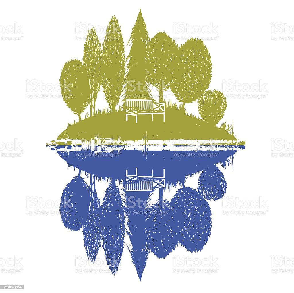 island with reflection in two colors vector art illustration